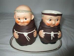 Vtg Goebel W Germany Z 37 Friar Tuck Monk Creamer & Sugar Bowl & Tray
