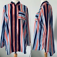 Woman's Multicoloured Pin Stripe Button Up Shirt Retro Blouse Pocket Size 18