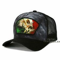MEXICO Flag Hat Flying Eagle Western Trucker Mesh Snapback Tie Dye Baseball Cap