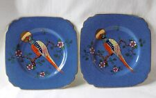 2 ANTIQUE GEORGE JONES, CRESENT CHINA, SQUARE SIDE PLATES. HAND PAINTED PHEASANT