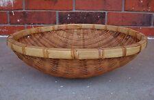 Asian Woven Wicker Bamboo/Rattan Winnowing Sorting Basket Tray Wall Deco