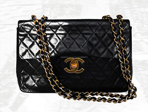 Chanel 100% Auhtentic Classic Single Flap Black Leather Quilted Large Bag Y300