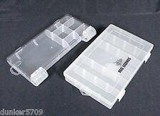 2 PLASTIC STORAGE ORGANIZER BOXES SNAP LID PLASTIC DIVIDERS