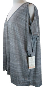 The Balance Collection Womens Athletic T-Shirt Gray Yoga Top Plus 3X $48