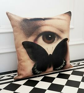 Cream Beige Arty Butterfly Contemporary Eye  Occasion Scatter Pillow Cushion