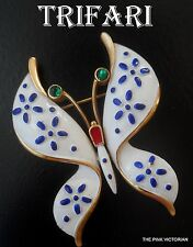 SIGNED CROWN TRIFARI white ENAMEL dark BLUE daisy BUTTERFLY pin BROOCH PK-2