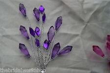 Crystal Pick Stem 14 Jewels Wedding Flowers Buttonholes Bouquets 7 Colours