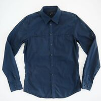 SABA Mens Navy Blue Pinstripe Shirt Size S Slim Fit Long Sleeve 100% Cotton EUC