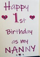 Personalised 1st first Birthday Card As My Mummy Nanny Grandma Sister Auntie 💕