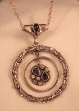 Swirled Top Goldtone Pendant Necklace Delightful Double Ringed Amber Rhinestone