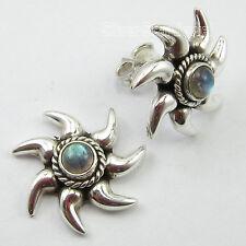 925 PURE Silver BLUE FIRE LABRADORITE AMAZING SUN Earrings 1.8 CM ONLINE BUY NEW