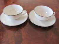 "Franciscan China Platinum Band -Encanto Ivory-2 Cups & 2 Saucers- Larger 2"" Size"