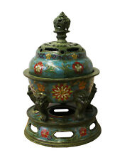Chinese Metal Blue Enamel Cloisonne Incense Burner Figure cs2820