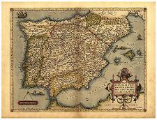Spain Madrid Catalonia Andalusia illustrated map Abraham Ortelius ca.1570
