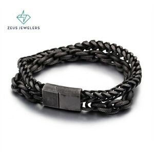 """Stylish Double Chain Black Stainless Steel Men Bracelet 9"""" inches Magnetic Clasp"""