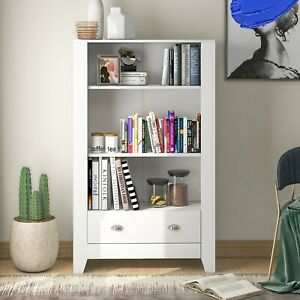 Bookshelf 3 Tier Bookcase Large Storage Unit With 2 Drawers Display 80x29x130 cm