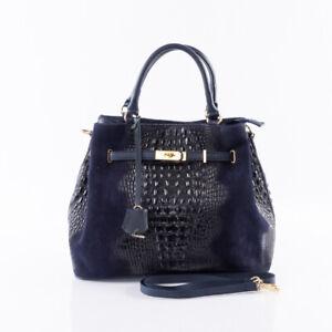 Italian blue crocodile & suede leather satchel handbag UNIQUE SHAPE!