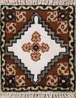 Vintage Traditional Moroccan Geometric Oriental Hand-knotted Area Rug Square 1x1