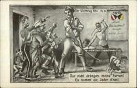 WWI German Propaganda Satire Comic Anti Serbia & Belgium 1914 Postcard