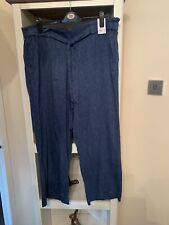 Ladies Blue Linen Paperbag Waist Wide Leg Trousers By George Size 22 BNWT