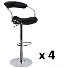 4x PVC Leather Bar Stool Kitchen Modern Chair Gas Lift Ade 1191 Black Swivel
