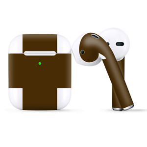 Skins Wraps compatible for Apple Airpods  Solid Brown
