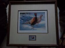 Framed 1983 Minnesota Pheasant Habitat Stamp MN First State Print Daniel Smith