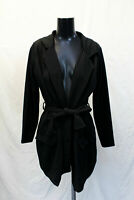 Boohoo Women's Plus Oversized Tie Blazer TM8 Black Size US:12 UK:16 NWT
