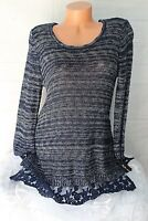 STYLE & CO. (M) Sweater Pullover Navy White Blend LACE Hem Lightweight Stretch