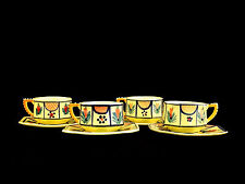 HB Henriot Quimper France Yellow Soleil Cups & Saucers
