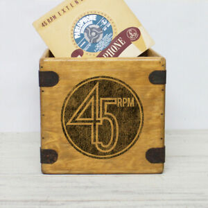 """45 Rpm Record Box 7"""" Single Boxes Handcrafted Wooden Vinyl Crate"""