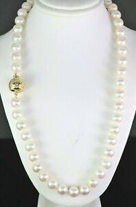 $8,000 Mikimoto 18K Yellow Gold AA+ 8-8.5mm Akoya Pearl String Strand Necklace