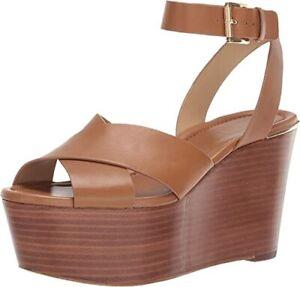 Michael Michael Kors Women's Abbott Mid Wedge Leather Open Toe  Size 8M