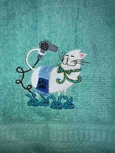 Embroidered Teal  Bathroom Hand Towel White Cat  Blow Drying Fur w Slippers
