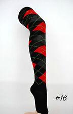 Argyle Check Diamond Stretch Long Knee High Socks Pub Golf Fancy Dress #16 Black Charcoal Red