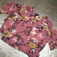 B-765 Sanctuary Womens Top Pink Floral Surplice Faux Wrap Short Slv V Neck 2X