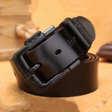 Men's Belt Genuine Leather Belt Strap Retro Black Pin Buckle Casual Jeans Belt