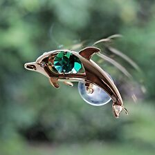 Green Crystal Dolphin Sun Catcher using Swarovski Elements Made By Crystocraft