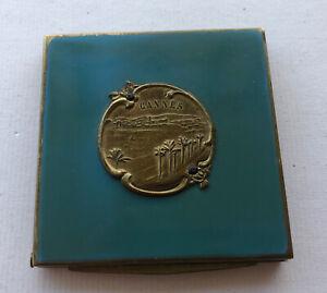 POUDRIER ANCIEN LAITON LAQUE SOUVENIR DE CANNES EPOQUE ART DECO REF65838