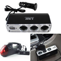 GX- 12V 3 Way Car Cigarette Lighter Power Spliter Sockets USB DC Adapter Charger
