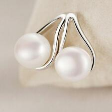 Fashion Women 925 Silver Plated Ruyi Freshwater Pearl Ear Stud Earrings