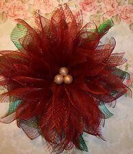 Handmade* Poinsettia* burgundy* Christmas * Wall flower, door wreath*iridescent