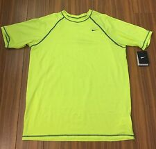 New Nike Mens Large Yellow Green Neon $46 T Shirts Crew Cut Basic Top