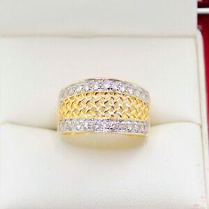 Estate Jewellery, Cigar Band Dress Ring with Twenty Six Natural bead set roun...