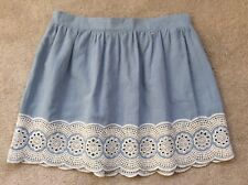 Primark Chambrey Denim Mini Skirt Embroidered Hem, UK Size 12-14 Immaculate