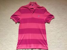Fred Perry Polo Striped Pink Mens Medium Used