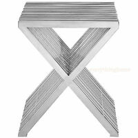 SLOTTED STAINLESS STEEL X END SIDE TABLE SILVER SLATS GRID MID-CENTURY MODERN