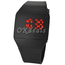 Fashion Children Touch Red LED Digital Display Silicone Sports Wrist Watch