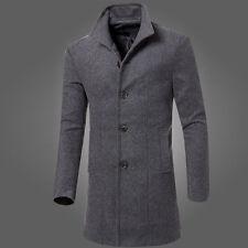 Fashion Mens Trench Coat Warm Thicken Jacket Woolen Peacoat Long Overcoat Tops