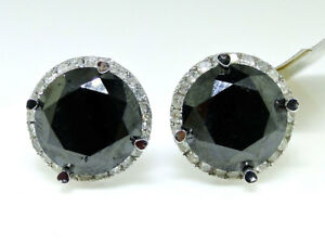 10K White Gold Black Round Diamond Solitaire Stud Earrings